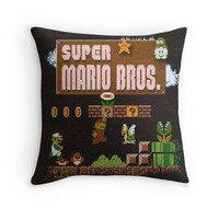 'Mario Super Bros' Throw Pillow by likelikes