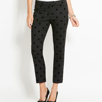 Dot Flocked Wool Ankle Pants