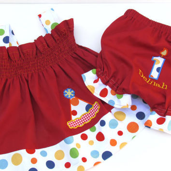 Birthday Dress  Birthday Hat Appliqued Red with Lolli Dot Polka Dots Monogrammed