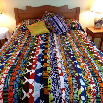 Queen Duvet Cover - Batik Bedspread - African Detailed Patchwork Wax Print
