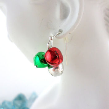 Christmas Earrings Jingle Bell Earrings Holiday Earrings Red Silver Green Bell Earrings Vintage Christmas Jewelry