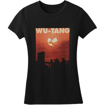 Wu Tang Clan  Sunset Clan Logo Jr T Girls Jr Tissue Tee Black