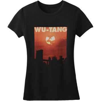 Wu Tang Clan  Sunset Clan Logo Jr T Junior Top Black