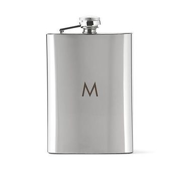 Shiny Monogrammed Hip Flask Gift for Groomsmen (Pack of 1)