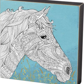 Color It Yourself Horse Box Sign with Blue Background