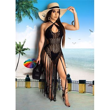 Adogirl Hand Crochet Fishnet Long Tassel Summer Beach Dress Fashion Sexy Halter Backless Maxi Dress Women Tunic Swimwear Outfits