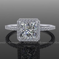 White Gold Princess Cut Moissanite Engagement Ring