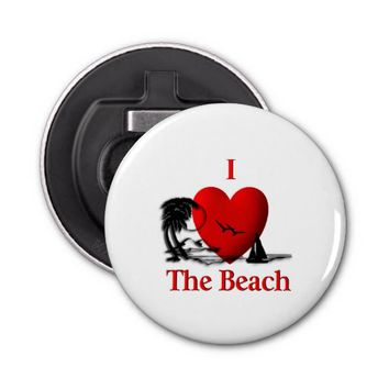 I Heart The Beach Bottle Opener