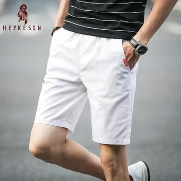 HEYKESON 2017 Summer 100%Cotton Shorts Men Fashion Brand Boardshorts Male Casual Shorts Male Short Plus Size Cool Short 5XL