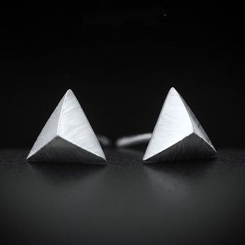 "Tinny earrings 6MM(0.23""INCH) Real. 925 Sterling Silver Geometric pyramid Triangle Post Stud Earrings New GTLE441"
