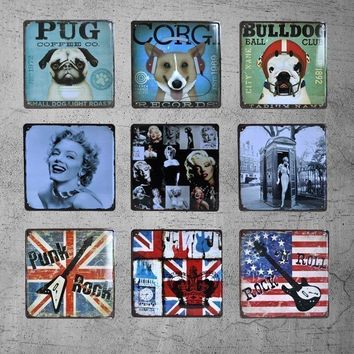 Vintage Dog Cat Metal Tin Signs License Plate Painting Retro Iron Plaque Bar Garage Home Wall Decor Art Craft Large 30*30cm A371