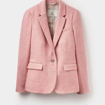 Horatia Pale Pink Donegal Tweed Jacket | Joules US
