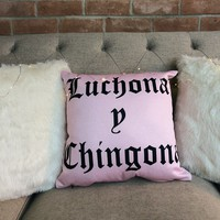 Luchona y Chingona Throw Pillow