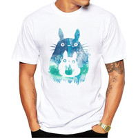 Totoro with Mini Totoros Men's Short Sleeve Casual White T-Shirt