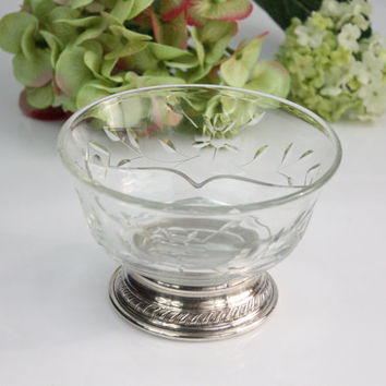 Divided Glass Bowl / Sterling Silver Base / Condiment Bowl