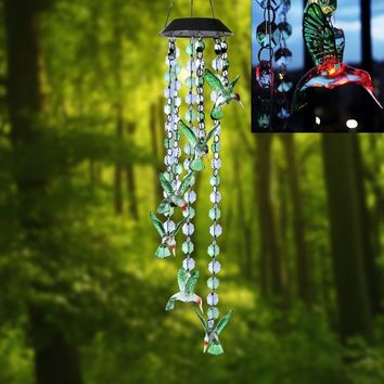 Waterproof Solar Powered Color Changing  Hummingbird Wind Chime Lights  Outdoor Decorative Romantic Windbell Light for Garden Or