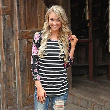 Floral and Striped Baseball T