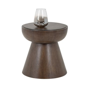 VAIO ESPRESSO BROWN WOOD FINISH ROUND END TABLE
