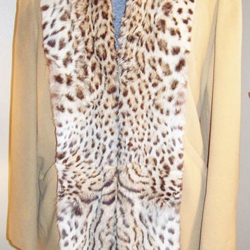 AMAZING 50s Vintage Faux Leopard Fur Full Front Collar Winter Coat Rockabilly Pin Up Girl