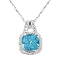 Cushion Cut Swiss Blue and White Topaz Pendant-Necklace in Sterling Silver