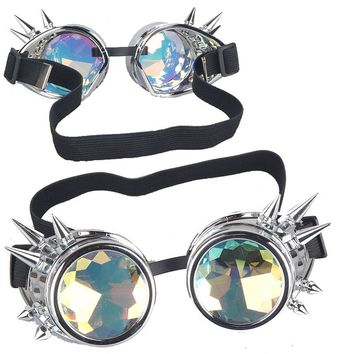 2016 Vintage Gothic Colourful Glasses Cosplay Rivet Steampunk Goggles Glasses Welding Punk Gothic Steampunk Eyewear