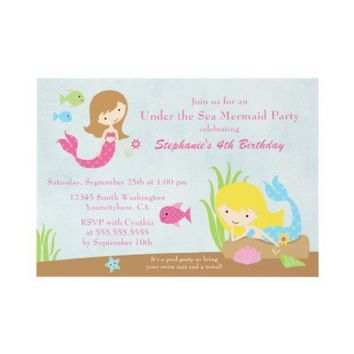 Under the sea mermaid girl's birthday party invite from Zazzle.com
