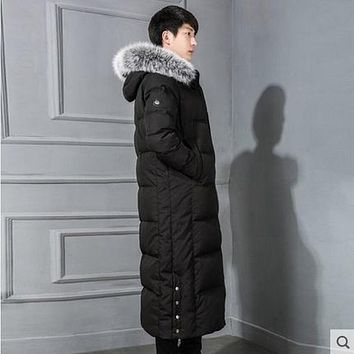 Men's Down Jacket Men Winter Duck Down Coat Over-knee Length Down Overcoat Down Parkas Fox Fur Collar detachable hood