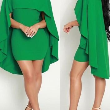 Green Draped Cape Round Neck Bodycon Homecoming Party Mini Dress