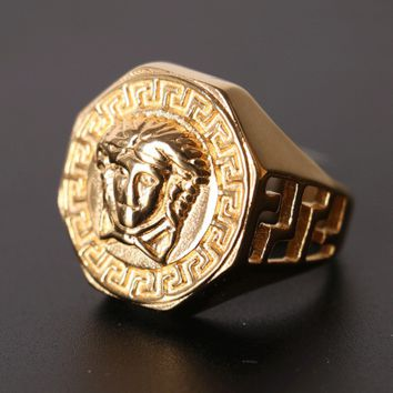 VERSACE Ring Hip Hop Jewelry Gold