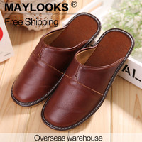 2017 Mens Indoor/Outdoor Summer Cool  Genuine Leather Closed Toe Luxury Comfortable House Slippers  8808