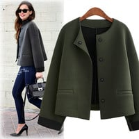 Scoop Loose Long Sleeves Brief Wool Short Coat