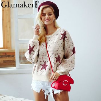 Glamaker Bright silk women christmas sweater Elegant sexy loose pullover and sweaters winter fashion o-neck jumpers
