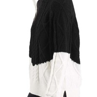 Topshop Colorblock Cable Knit Sweater | Nordstrom