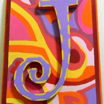 Girls Initial Wall Plaque/ Letter J (CLEARANCE- ready to ship)