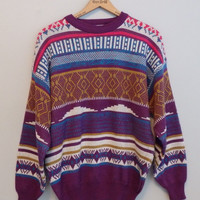 Pullover Crewneck Ski Sweater Tacky emo 80s Hipster Knit Sweater L