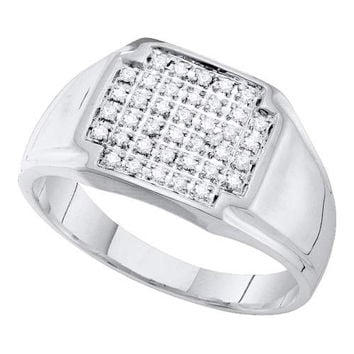Diamond Micro Pave Ring in 10k White Gold 0.25 ctw