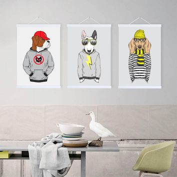 Fashion Hipster Animal Dog Posters Prints Modern Hippie Vintage Home Decor Scroll Wall Art Picture Wooden Framed Canvas Painting