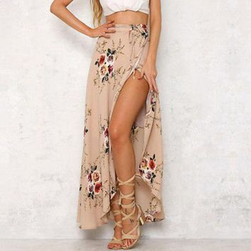 Fashion Vintage Women Boho Tribal Floral Frint Bandage Lace Up Asymmetrical Skirt Maxi Summer Beach Long Casual Skirts