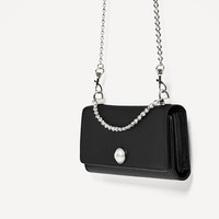 SATIN CROSSBODY BAG WITH PEARL DETAIL DETAILS