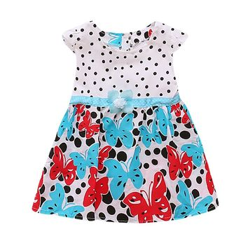 Newborn Toddler Baby Girls Dot Butterfly Print Flower Casual Dress Clothes