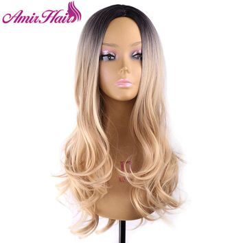 Amir Long Wave Blonde Ombre Wig Dark Roots Synthetic Wigs Heat Resistant Black/BlondeTwo Tones Wigs For White Women