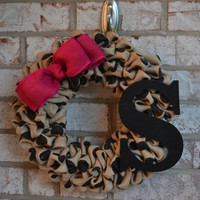 Black Polka Dot Burlap Wreath with Pink Bow, Initial Wreath, Monogram Wreath, Black Wreath, Fuschia Wreath, Summer Wreath, Polka Dot Wreath