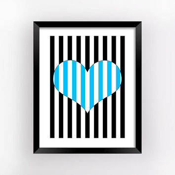 Optical Art, Striped Hearts, Romantic Gift, Geometric Prints, Bedroom Wall Decor, Love Printable, Heart Print, Home Decor | MAGFEM ART #6