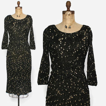 Vintage 40s KNIT Dress / 1940s Black Wool & Metallic Gold Lurex Textured Sweater Dress