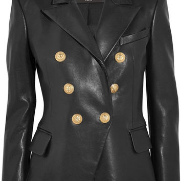 Balmain - Double-breasted leather blazer