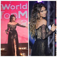 Bateau Long Sleeve Evening Pageant Dress Lace Slit Formal Celebrity Prom Gown