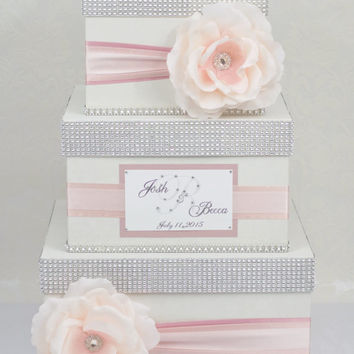Card box / Wedding Box / Wedding money box - 3 tier - ombre pink - Personalized