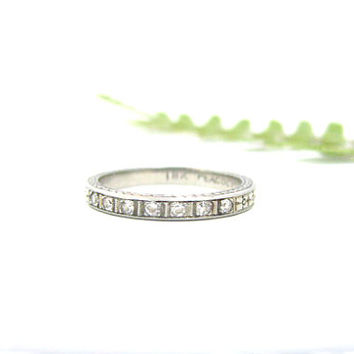 Art Deco Diamond Wedding Band, Orange Blossom Eternity Ring with Lovely Engraving, by CD Peacock, with Box