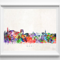 Bari Skyline Print, Italy Print, Bari Poster, Italian Wall Art, Watercolor Art, Wall Decor, City Skyline, Giclee Art, Christmas Gift