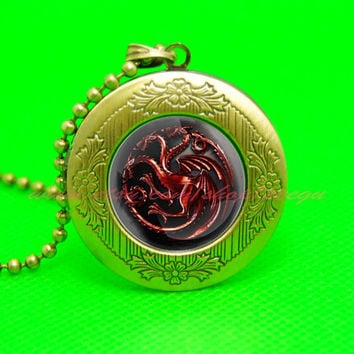 game of thrones house targaryen dragon pendant locket necklace, a song of ice and fire pendant locket necklace,game of thrones jewelry